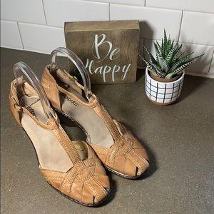 Women's t strap wedge tan shoes size 8.5